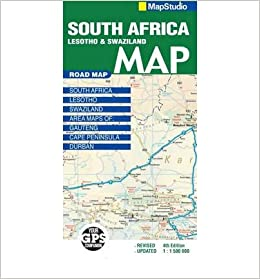 Road Map South Africa Lesotho Swaziland Sheet Map Folded