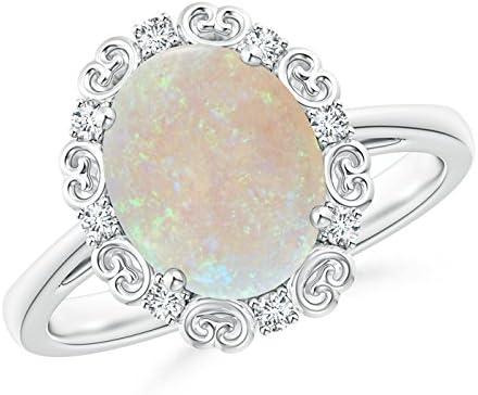 Octubre piedra de nacimiento – estilo vintage ovalado ópalo y diamante desplazamiento anillo de compromiso