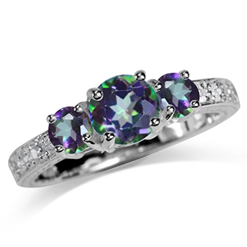 Mystic Topaz 3 Stone Ring - 1.67ct. 3-Stone Mystic Fire Topaz White Gold Plated 925 Sterling Silver Ring Size 5
