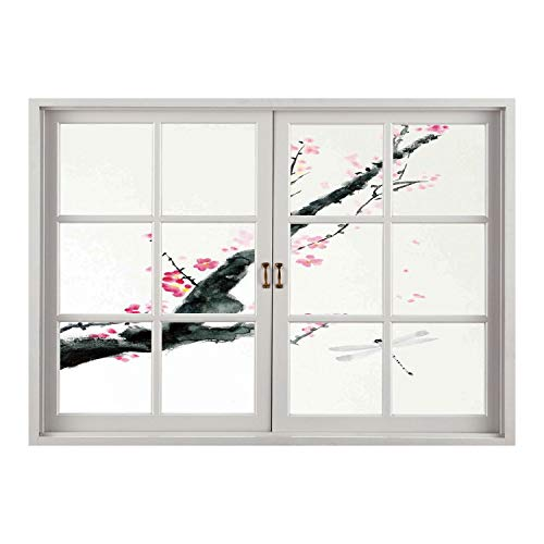 SCOCICI Peel and Stick Fabric Illusion 3D Wall Decal Photo Sticker/Dragonfly,Branch of a Pink Cherry Blossom Sakura Tree Bud and A Dragonfly Dramatic Artisan,Pink Black/Wall Sticker Mural ()