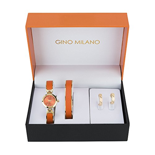 Ladies Orange Bangle Watch & Matching Bangle Bracelet with Matching Hoop Earrings Gift Set-Orange - Orange Womens Watch