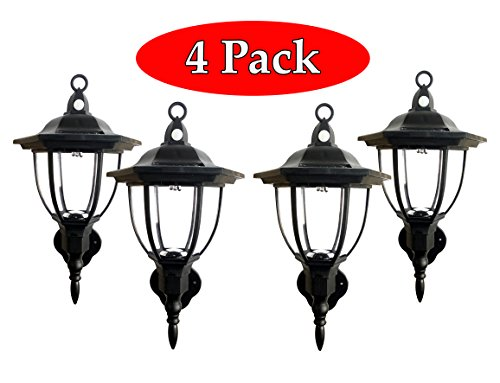 Solar Powered Wall Lamp- Set of 4- Motion Activated Security Lights- Wireless Outdoor Lantern- Beautiful Light Fixture- Garden Décor Accent Lighting- Best for Patio, Pool, Yard, Deck (Black)