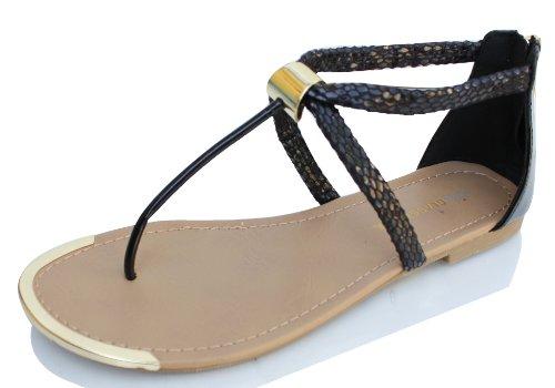 Black Snake Skin Faux Lær T-stropp Ankel Strap Flate Sandaler Harty