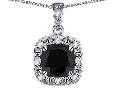 Star K 14k White Gold Cushion Black Sapphire Halo Pendant - Sapphire 14k Gold Slide
