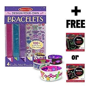 Mess Free Glitter Series FREE Melissa /& Doug Scratch Art Mini-Pad Bundle Foam Bracelets 95068