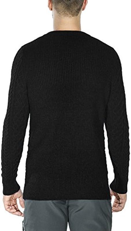 ninovino Męskie Casual Pullover Sweater Long Sleeve Rundhalsausschnitt Strick - Schwarz - Small: Odzież