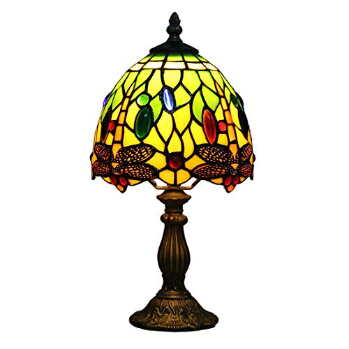 Makenier Vintage Tiffany Style Stained Glass Bedroom Bedside Corner Table Desk Green Dragonfly Small Lamp, 7 Inches Lampshade ()