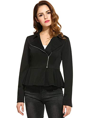 Printemps Avec Volants Chic Automne Long Mince Court Elégante Jeune Femme Éclair Outwear D'extérieur Jacket Jacken Revers Vêtements Veste Fermeture Manches Unicolore Fashion Schwarz YwpEx