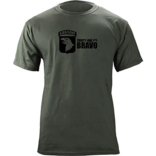 Army 101st Airborne 31 Bravo Military Police T-Shirt (2XL, Green)
