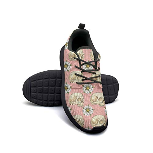 VXCVF Pink Skull Cross with Rose Flower Girls Black Sneakers Comfortable and Lightweight Casual ()
