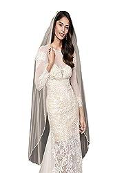 Passat 1 Tier Embroidered Floral Garland beads crystals bride veils rhinestone wedding veils297