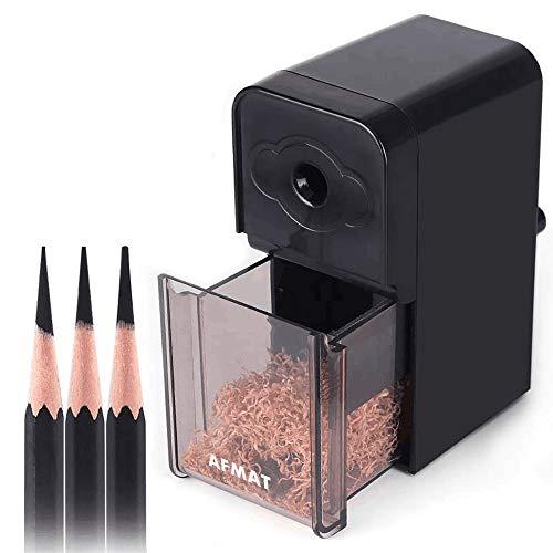 Long Point Pencil Sharpener, Artist Pencil Sharpener,AFMAT Manual Drawing Pencil Sharpener for 6-8.2mm Sketching/Charcoal/Graphite/Prismacolor Colored Pencils w/Sandpaper,Adjustable Pencil Nibs,Black