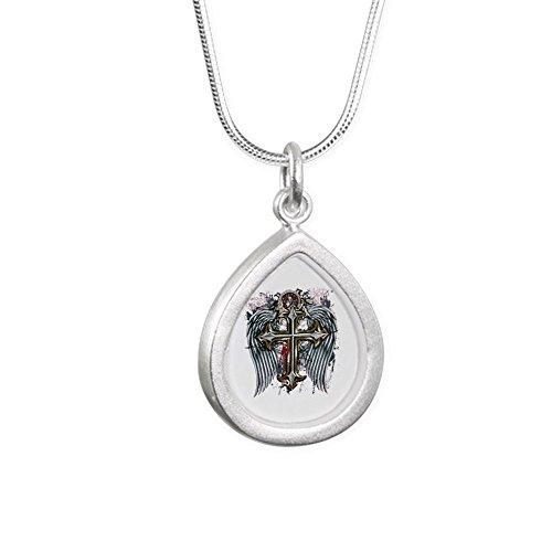 Silver Teardrop Cross - Silver Teardrop Necklace Cross Angel Wings