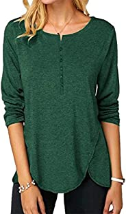 OMSJ Women Button Down Blouse Long Sleeve T Shirts Tops