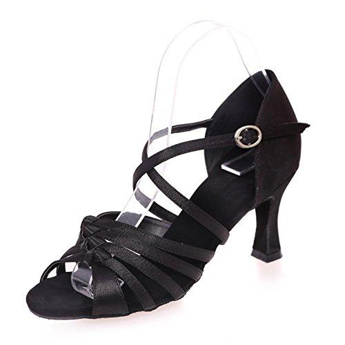 L De Femmes avec En Cuir artificiel Sandales Chaussures Noir Ballroom Latin Couleur YC Danse Pour Cuba Satin TSqTr