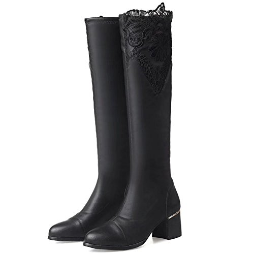 KingRover Women's Fashion Block Heeel Leather Knee High Boots Low Black qOgIJRj3q