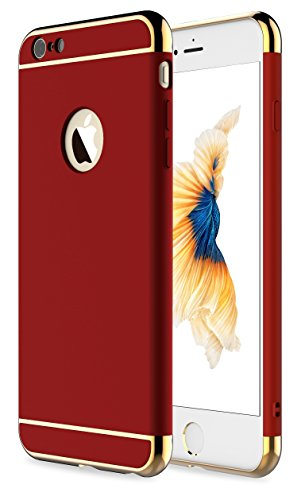 iPhone 6s Case,iPhone 6 Case,RORSOU 3 in 1 Ultra Thin and Slim Hard Case Coated Non Slip Matte Surface with Electroplate Frame for Apple iPhone 6 (4.7'') and iPhone 6S (4.7'') - Red and Gold by RORSOU