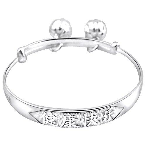 - Sterling Silver Baby Girls Bangle Bracelet Anklet Rattle Bells Engraved Words Adjustable (Happy and Healthy with Jingle Bells)
