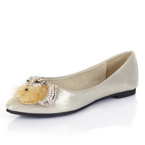 WeiPoot Womens Closed Round PU Toe Suede PU Round Soft Material Solid Flats with Glass Diamond, Gold, 7.5 B(M) US B00K8JRYZ2 Shoes 4ba248