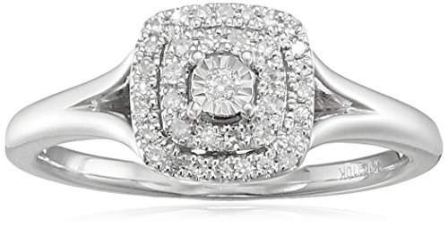 Double Frame Ring (10k White Gold Double Frame Diamond Halo Ring (1/6cttw, I-J Color, I2-I3 Clarity), Size)