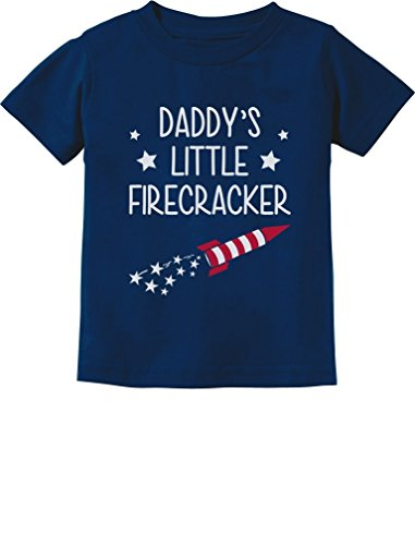 Daddy Toddler T-shirt - Daddy's Little Firecracker! Cute 4th of July Toddler/Infant Kids T-Shirt 3T Navy