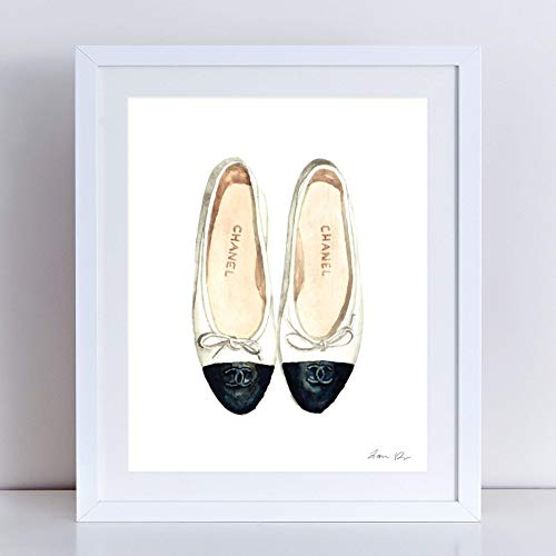 Chanel Ballet Flats Art Print Watercolor Painting Wall Home Decor Chanel Shoes Coco Chanel Quotes Fashion Illustration Vogue Designer Classic Chic Preppy Pretty Canvas ()