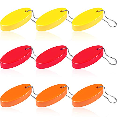 (Blulu 9 Pieces Foam Floating Key Chain Oval Float Key Ring Foam Keychain for Boating Fishing Kite Surfing Sailing and Outdoor Sports, Red, Yellow, Orange)