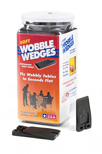 Wobble Wedges Multi-Purpose Shims–Soft Black 75 pack –Easy to Trim –Protect Delicate Surfaces –Level Restaurant Tables, Household Furniture and Plumbing Fixtures –Use as Clamping Pad on Angled Surface