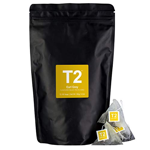 - T2 Tea Earl Grey Black Tea Bags in Resealable Foil Refill Bag, 60-count