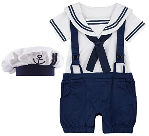 A&J DESIGN Infant Boys 2 Piece Sailor Romper Outfit Set with Hat (6-12 Months, Navy Blue)