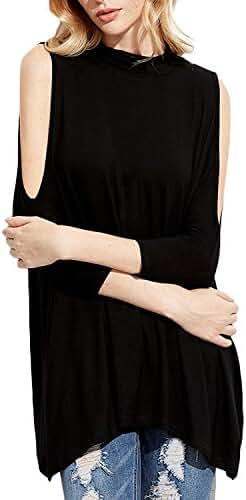 ZANZEA Women's Cold Shoulder Off High Neck Tunic Half Sleeves Hole Back Blouse