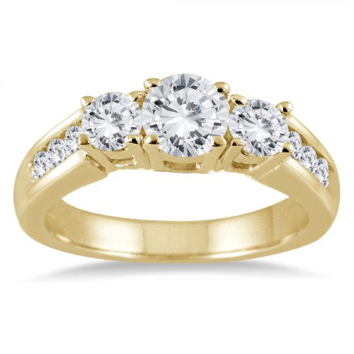 1 1/2 Carat TW Diamond Three Stone Ring in 10K Yellow Gold by Szul