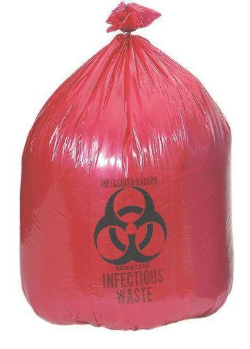 Medline NON122433 Biohazard Liners, Latex Free, 24'' x 33'' Size, Red (Pack of 250)