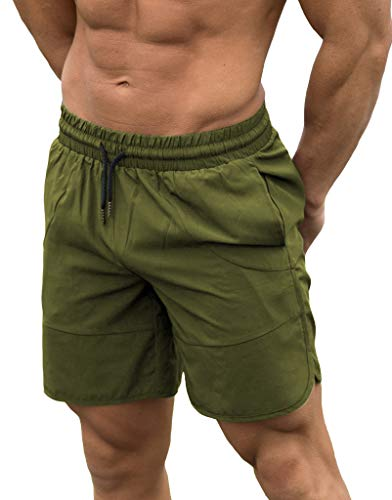 FLYFIREFLY Men's Gym Fitness Drying Workout Shorts Running Short Pants with Pockets Green