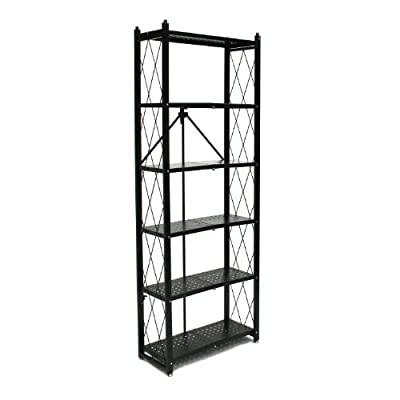 Origami 6-Shelf Bookcase | Open Style, Organizer Deco Rack, Large Book shelf, Tall Bookcase, Living room shelving, Freestanding, No assembly/no tools required, Modern Vertical Furniture | Black - Unfolds in under 5 seconds - 100% Pre-Assembled with no tools, assembly or significant time required Folds flat for easy storage and portability; minimal space required to easily store in your garage, closet, under your bed or behind doors Made of heavy duty commercial grade powder coated steel; included items: Origami 6-Shelf Bookcase (wheels are not included for this item) - living-room-furniture, living-room, bookcases-bookshelves - 41GIVuGW0RL. SS400  -