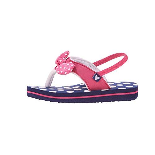 Wonder Beach Sandals for Girls Flip Flop Toddler Summer Shoe Blue Dot Bow (7/8) - Beach Dot