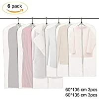 6 Pieces Washable Environmentally Garment Suit Bag Cover Hanging Clothes Dustproof Protector Cover, Zipped Pockets Protective Film,Coat/Dress Closet Organizer,Transparent