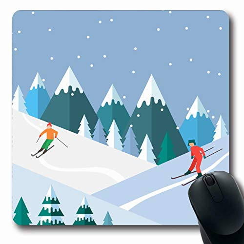 LifeCO Computer Mousepad Track Flat Ski Season Winter Alps Sports Recreation Activity Cabin Descent Fir Trees Design Leisure Oblong Shape 7.9 x 9.5 Inches Oblong Gaming Non-Slip Rubber Mouse Pad Mat