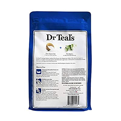 Dr. Teal's Epsom Salt Soaking Solution With Eucalyptus Spearmint, 48 Ounce, Pack of 2