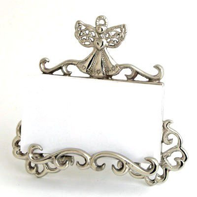 Nickel Angel de Lis Business Card Holder -