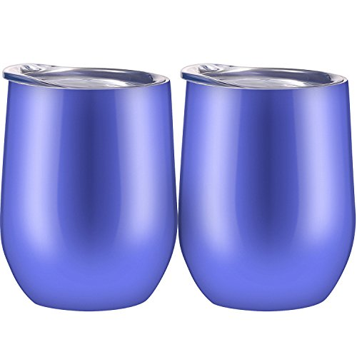 -insulated Stemless Glass, Stainless Steel Tumbler Cup with Lids for Wine, Coffee, Drinks, Champagne, Cocktails, 2 Sets (Hydrangea) ()