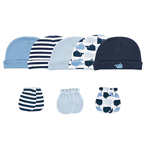 luvable-friends-5-pack-cap-and-3-pack-scratch-mitten-set-blue-whales-0-6-months