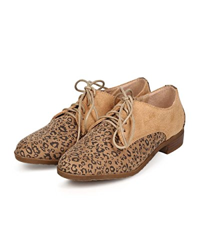 Kayleen Ed20 Donna Leopardata Punta Tonda Classica Stringata Oxford Flat - Taupe