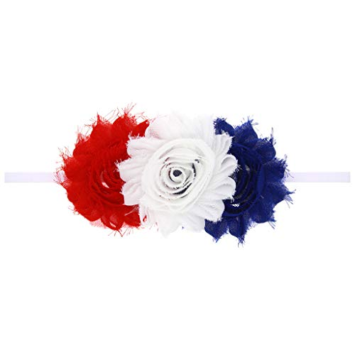 Baby Girls Hair Accessories Flower Pearl Ribbon Headband American Flag 4th Of July (I)