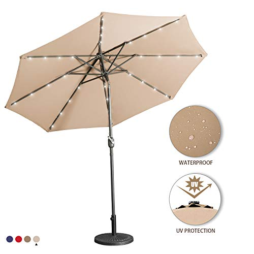 Aok Garden 9 Ft LED Lighted Patio Outdoor Umbrella Solar Power Market Table Fade-Resistant Umbrella with Push Button Tilt & Crank and 8 Sturdy Ribs, Sand