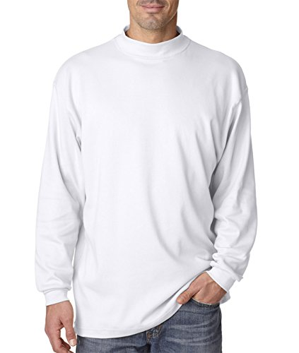 Adult Egyptian Interlock Long-Sleeve Mock Turtleneck - White 8510 S