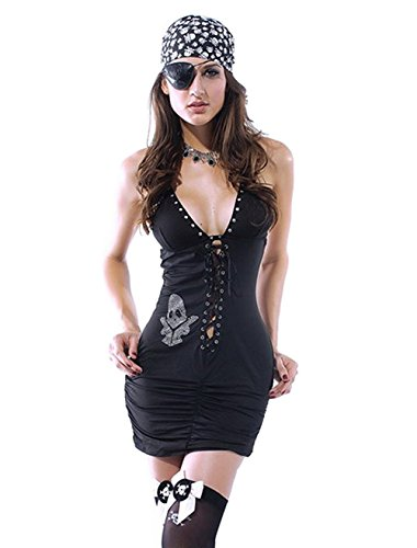 Deargirl Women's Skull V-neck Pirate Costume Halloween Costume 3 Piece (One Size, Black)
