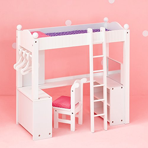 Teamson Design Corp Olivia's Little World - Princess College Dorm Double Bunk Desk (Grey Polka Dots) | Wooden 18 inch Doll Furniture