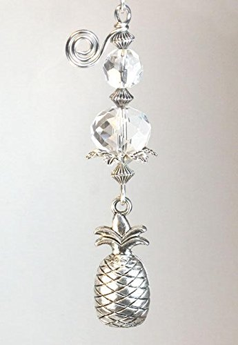 Plantation Pineapple Ceiling Fan Pull / Light Pull Chain in Silver and Clear Glass (Light Pineapple Ceiling Fan)