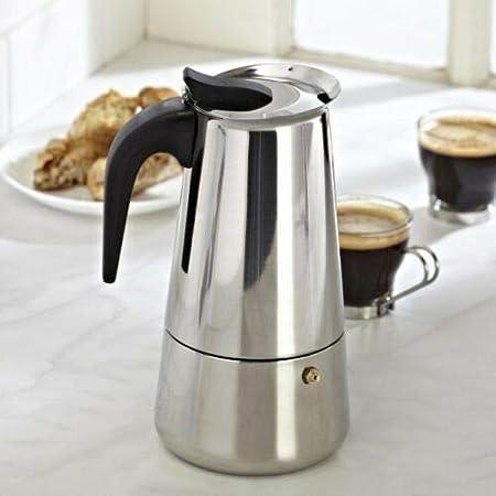 Cafetera de acero inoxidable para café expreso Moka con percolador y tapa de latte cappuccino italiano y café español, Plateado, 4 tazas